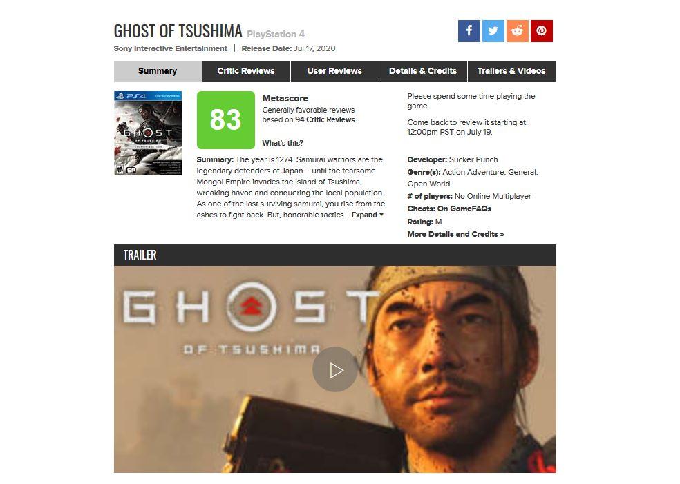 Ghost of Thushima Metacritic pasa más tiempo 2