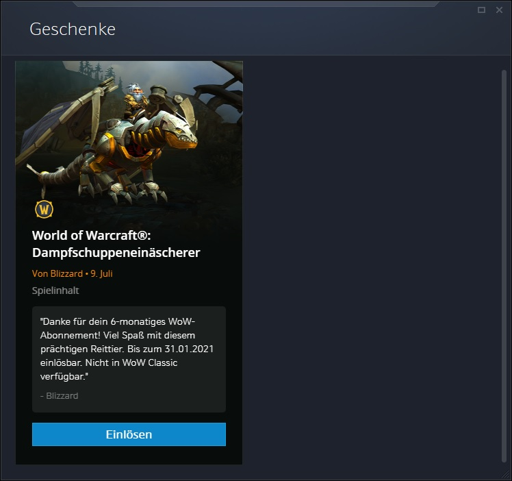 Cenicero WoW Steam Boost Mount Gift