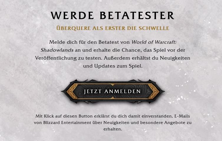 Registro Beta de WoW Shadowlands