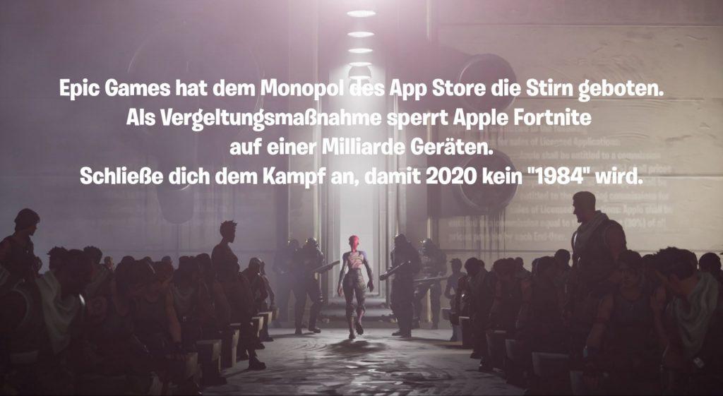 """App-Store-Fortnite """"class ="""" lazy lazy-hidden wp-image-536168 """"srcset ="""" http://dlprivateserver.com/wp-content/uploads/2020/08/1597407182_839_Esto-esta-detras-de-Fortnite-1984-el-ataque-a-Apple.jpg 1024w , https://images.mein-mmo.de/medien/2020/08/App-Store-Fortnite-300x164.jpg 300w, https://images.mein-mmo.de/medien/2020/08/App- Tienda-Fortnite-150x82.jpg 150w, https://images.mein-mmo.de/medien/2020/08/App-Store-Fortnite-768x421.jpg 768w, https://images.mein-mmo.de/ medien / 2020/08 / App-Store-Fortnite-1536x841.jpg 1536w, https://images.mein-mmo.de/medien/2020/08/App-Store-Fortnite-2048x1122.jpg 2048w """"data-lazy- size = """"(max-width: 1024px) 100vw, 1024px""""> Llamadas épicas para una revuelta contra Apple.  <p>La batalla entre Epic y Apple ha estado preocupando al mundo de los videojuegos desde mediados de agosto. Epic había comenzado el ataque contra Apple en el juego Fortnite con un videoclip y puso en marcha una campaña en las redes sociales.</p> <p>Epic utilizó el famoso comercial de Apple """"1984"""". Hemos explicado qué hay detrás de esto aquí:</p> <p>Esto está detrás de Fortnite 1984, el ataque a Apple y #FreeFortnite</p>   </div><!-- .entry-content /-->  <script type="""