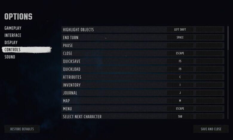 Wasteland 3: controles de teclado y combinaciones de teclas