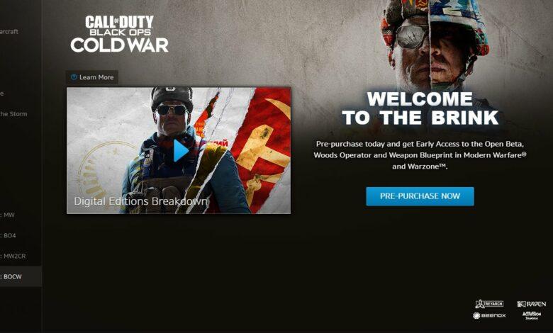 Call of Duty (COD) Black Ops Cold War (BOCW) - Tamaño de descarga
