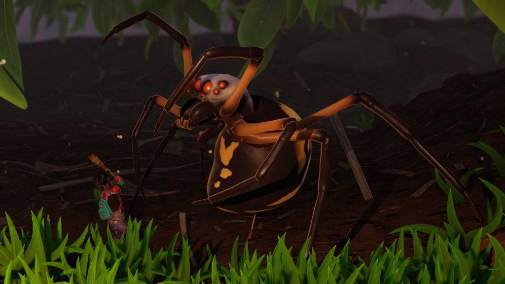 Araña desagradable aterrizada
