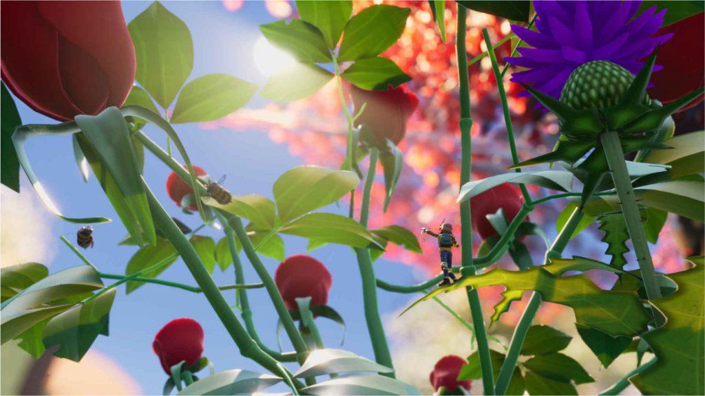 Flores y abejas puestas a tierra