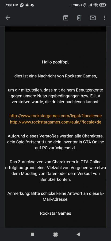 Mensaje de reinicio de falla de GTA Online Rockstar Games