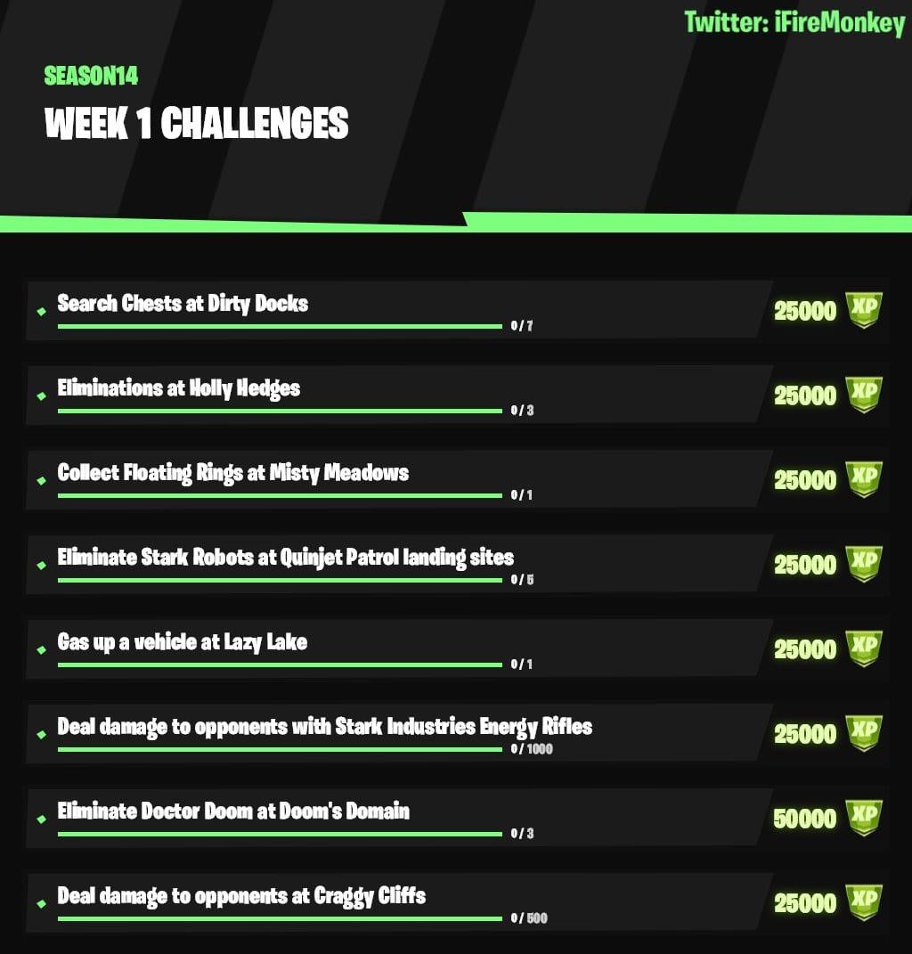 Fortnite Capítulo 2 Temporada 4 Desafíos de la semana 1, Desafíos de la semana 1 de Fortnite