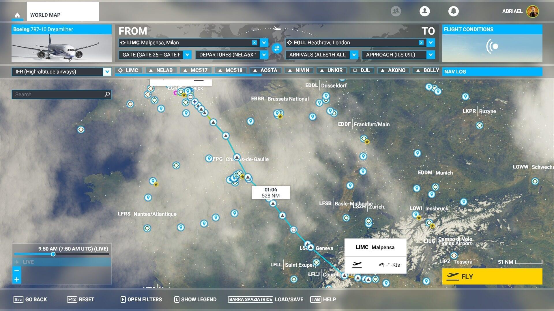 Plan de vuelo de Microsoft Flight Simulator