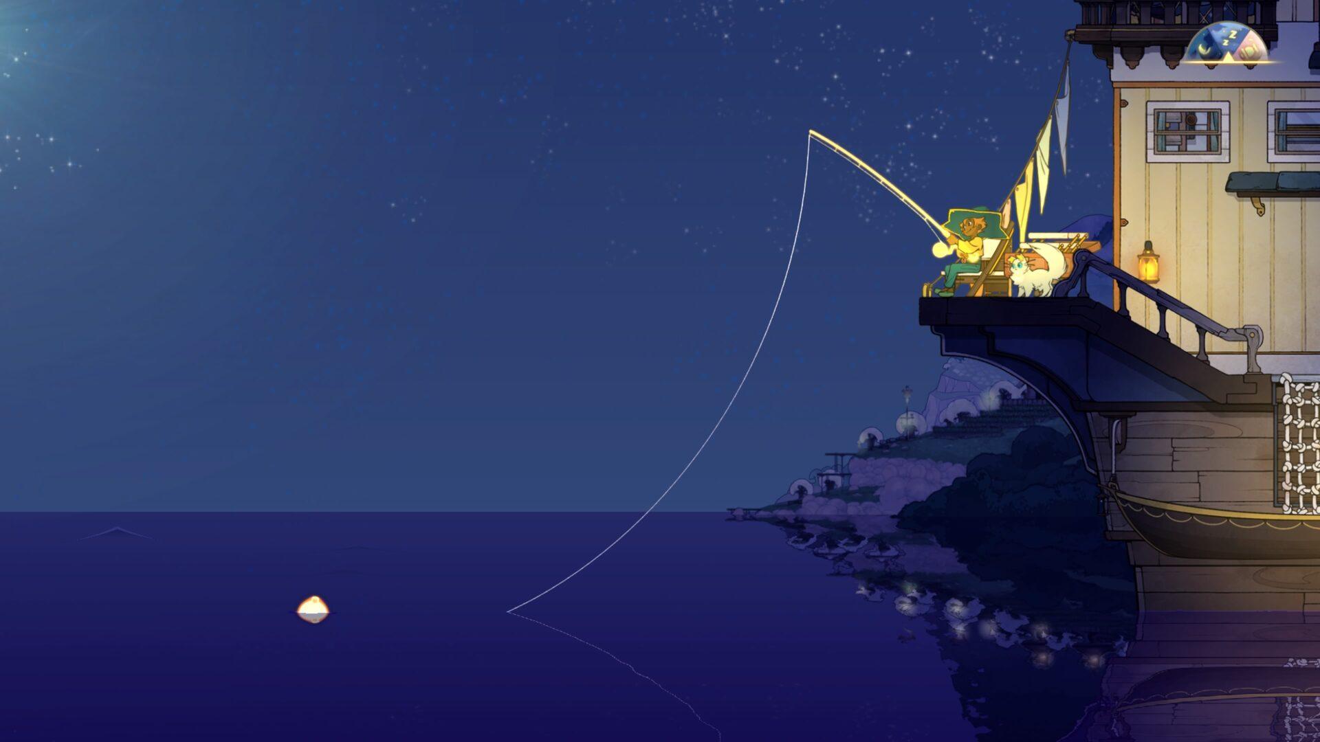 Spiritfarer: trucos y consejos para principiantes Pescar es una de las actividades que puedes hacer en Spiritfarer.