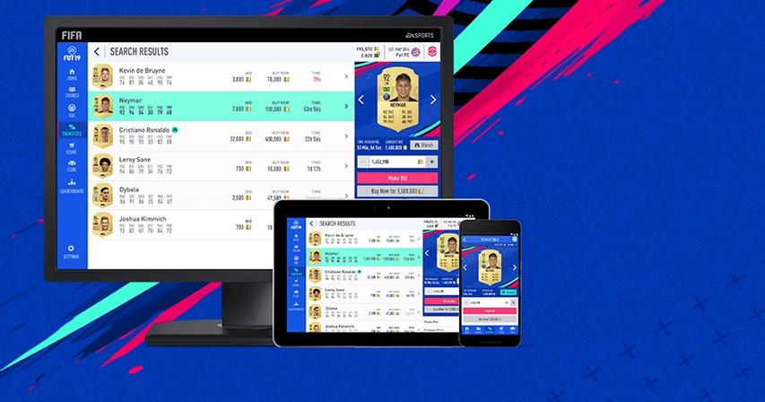 tarjetas de la aplicación web fifa 20