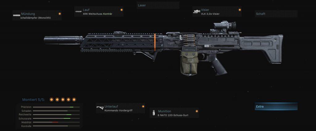 armas de zona de guerra de bacalao FiNN setup 3 lmg