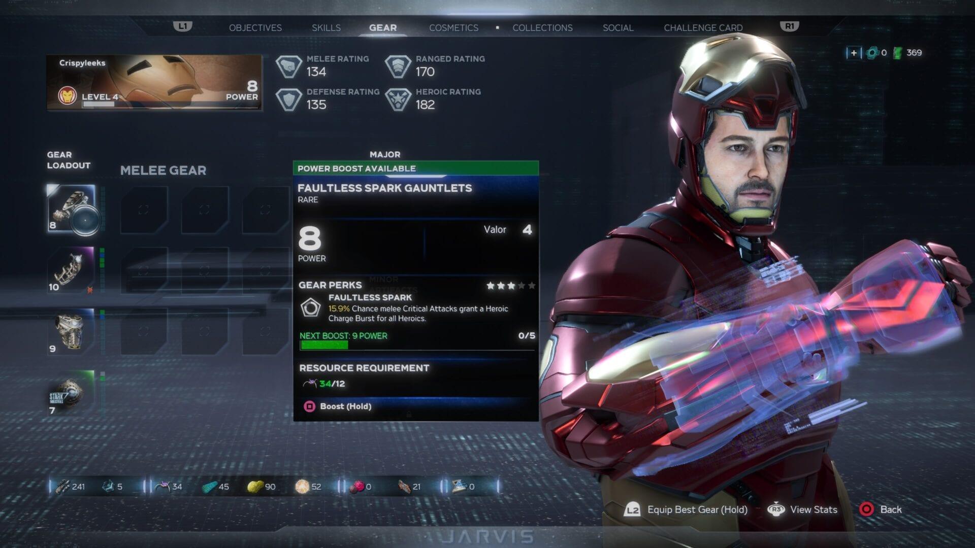 aumentar el nivel de potencia del equipo en Marvel's Avengers