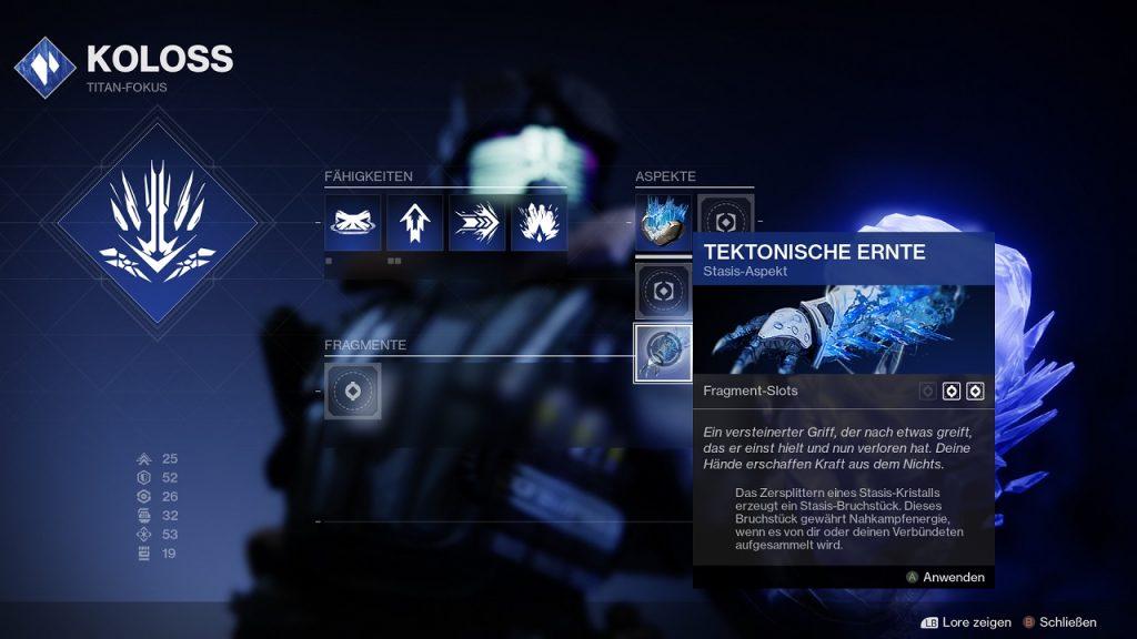 Fragmentos Aspectos Titán Coloso Más allá de la Luz Destino Estasis