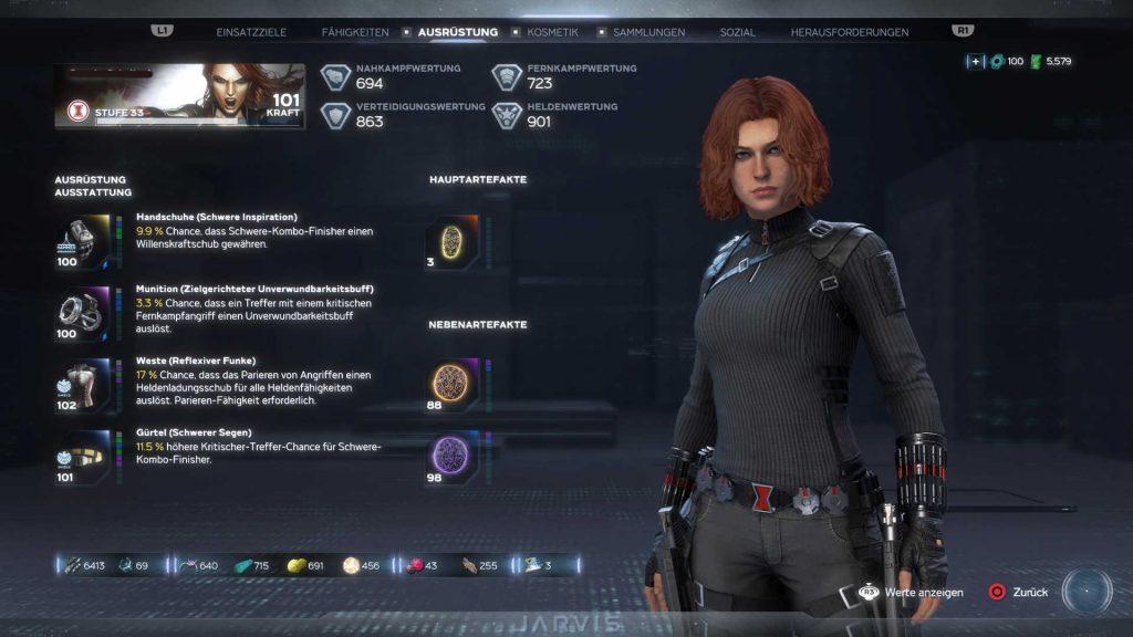 marvels avengers heroes black widow menú de equipamiento nivel 100