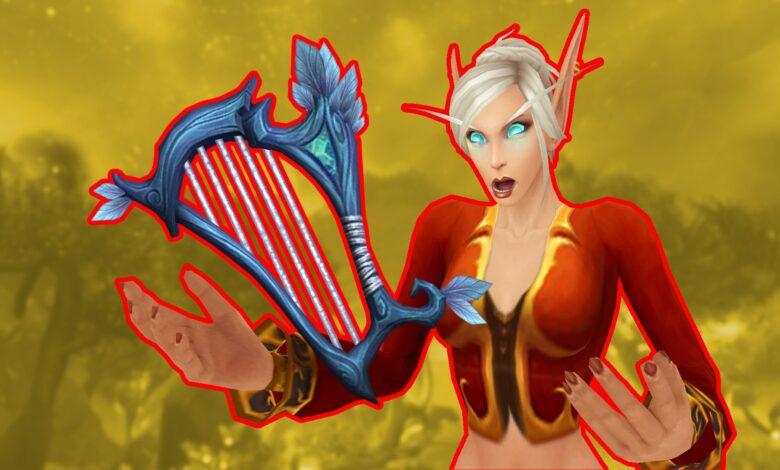 En WoW Shadowlands obviamente hay arpas como armas, o algo así