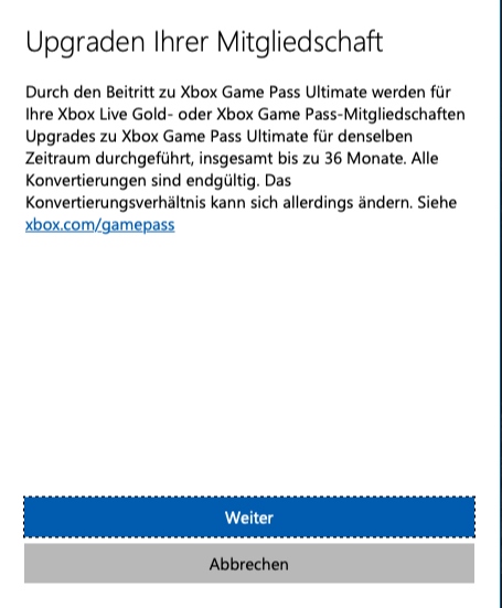 Aviso de actualización de Xbox Game Pass Ultimate