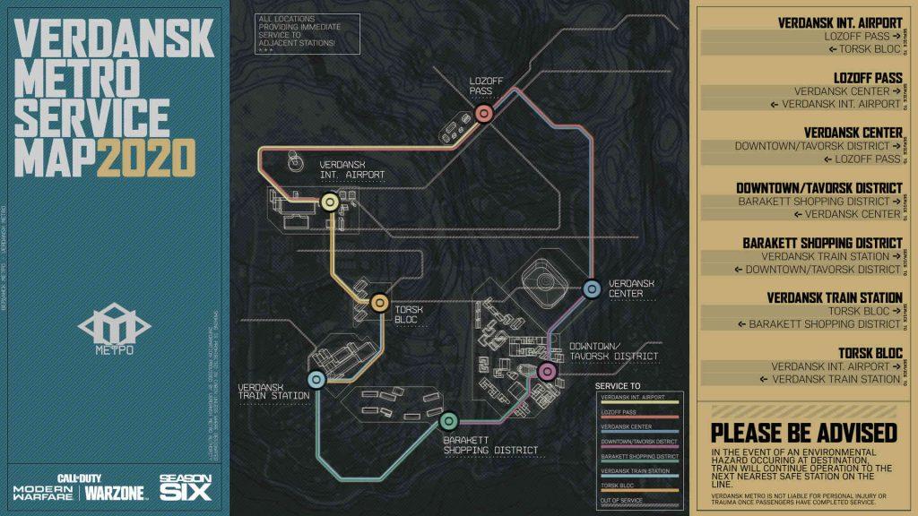 mapa de estaciones de metro de zona de guerra de bacalao