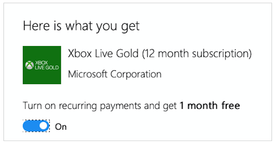 Pago recurrente de Xbox Live Gold