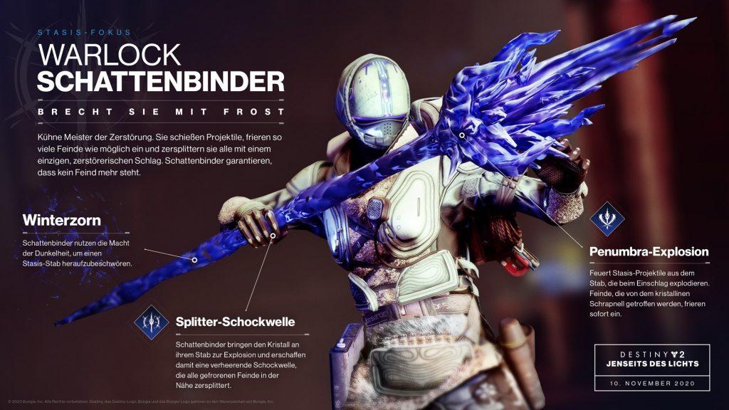 Warlock Stasis Shadow Binder Información sobre la sombra Destiny 2
