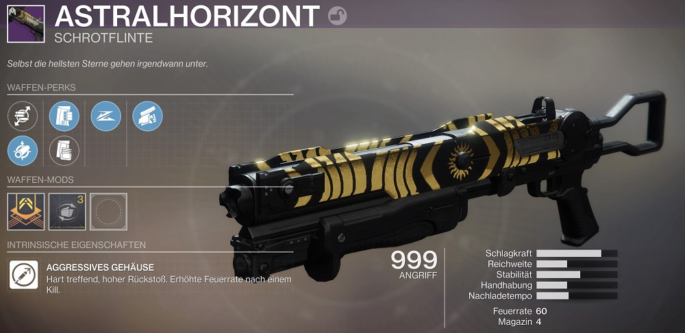 """astralhorizont-trial-shotgun-destiny-2 """"class ="""" wp-image-484691 """"srcset ="""" https://images.mein-mmo.de/medien/2020/03/astralhorizont-trials-shotgun-destiny-2. jpg 1000w, https://images.mein-mmo.de/medien/2020/03/astralhorizont-trials-shotgun-destiny-2-300x146.jpg 300w, https://images.mein-mmo.de/medien/ 2020/03 / astralhorizont-trial-shotgun-destiny-2-150x73.jpg 150w, https://images.mein-mmo.de/medien/2020/03/astralhorizont-trials-shotgun-destiny-2-768x373.jpg 768w """"tamaños ="""" (ancho máximo: 1000px) 100vw, 1000px """"> Casi cada rollo del horizonte astral te golpea      <p><strong>Esto es lo que hace que la escopeta sea tan buena:</strong> Astral Horizon es una de las escopetas de tiro más lento que golpea con fuerza. Esto les permite matar a los Guardianes enemigos desde grandes distancias con un solo disparo. </p> <p>Otra escopeta de este tipo domina actualmente el PvP: Felwinter Lie (a través de destinytracker.com). Solo puedes obtener esta arma nuevamente en la temporada 13 y también pertenece a la ranura Elemental. Eso convierte a Astral-Horizont en la mejor alternativa actualmente.</p> <p>Otra ventaja de Astrahorizont es que casi solo tienes buenas ventajas para elegir. La tirada de dios para PvP debería verse así:</p> <ul> <li>Barril: impacto total (reduce la dispersión) o barril tirado (rango +10, manejo -15)</li> <li>Cargador: Cargador de asalto (+10 Cadencia de fuego, +15 Estabilidad) o Misiles mejorados (+10 Alcance)</li> <li>Beneficio 1: movimiento fijo (el arma se puede sacar y cambiar rápidamente)</li> <li>Beneficio 2: primer disparo (mejora el alcance y la precisión en el primer ataque; se reinicia cada pocos segundos)</li> <li>Obra maestra: manejo o alcance</li> </ul> <p>Si llegas al faro sin problemas, también puedes esperar la versión maestra del arma. Como obra maestra, tiene una bonificación en los valores de estado.</p> <p>    <img loading="""