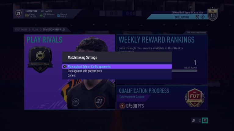 Matchmaking de rivales de FIFA 21