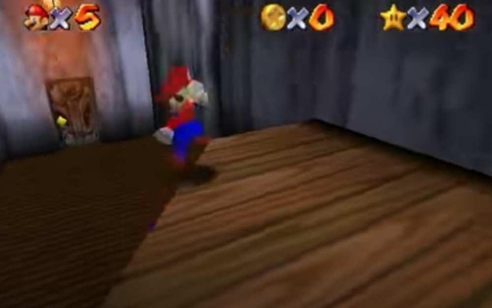 Ojo a ojo en el tutorial del nivel de la habitación secreta para Super Mario 64