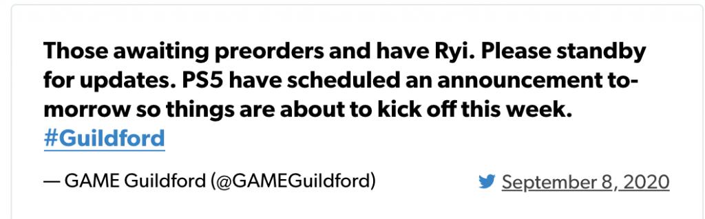 JUEGO Guildford Tweet PS5