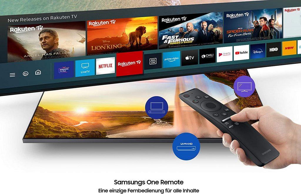 Televisor Samsung GU43TU8079 UHD con control remoto y secciones de menú