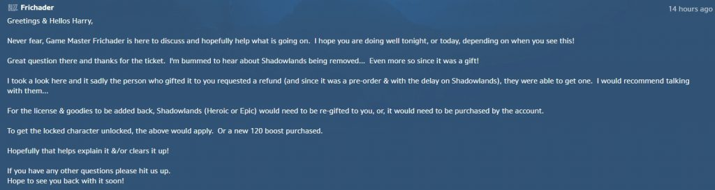 Respuesta de WoW Shadowlands GM