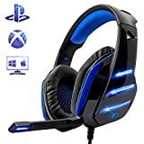 Beexcellent Gaming Headset para PS4, auriculares profesionales con sonido envolvente y bajo con luz LED de micrófono para Xbox One PC Laptop Mac Tablet