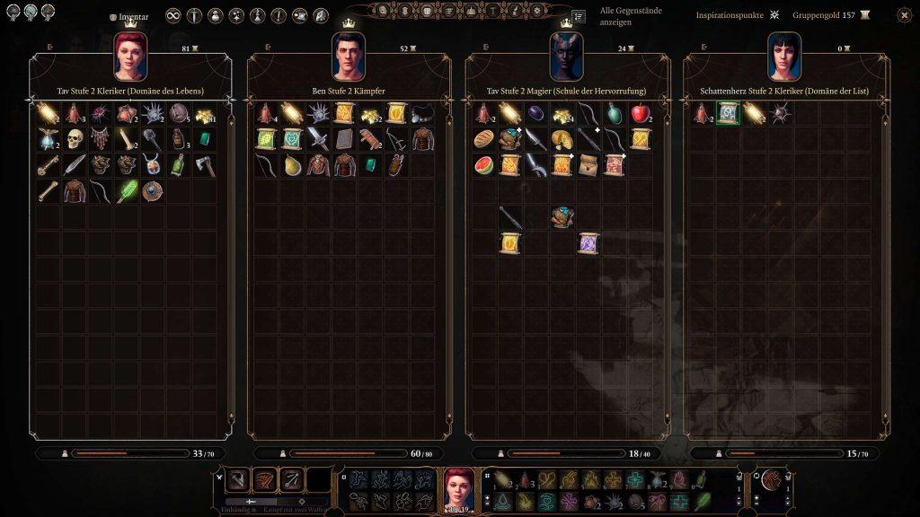 Inventario multijugador de Baldur's Gate 3