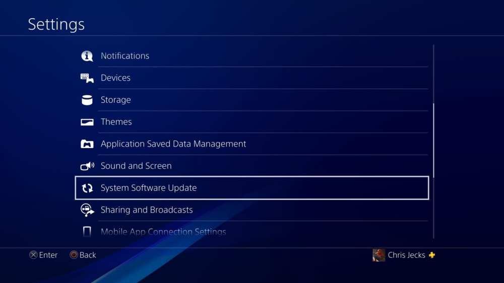 actualización del software del sistema ps4