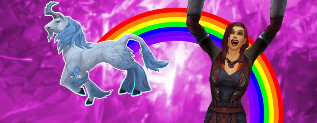 WoW Monohorn Unicorn Rainbow Cheer título femenino humano 1140x445