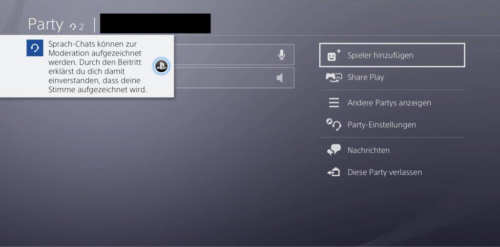 Ventana emergente de PS4 Sony Party Language
