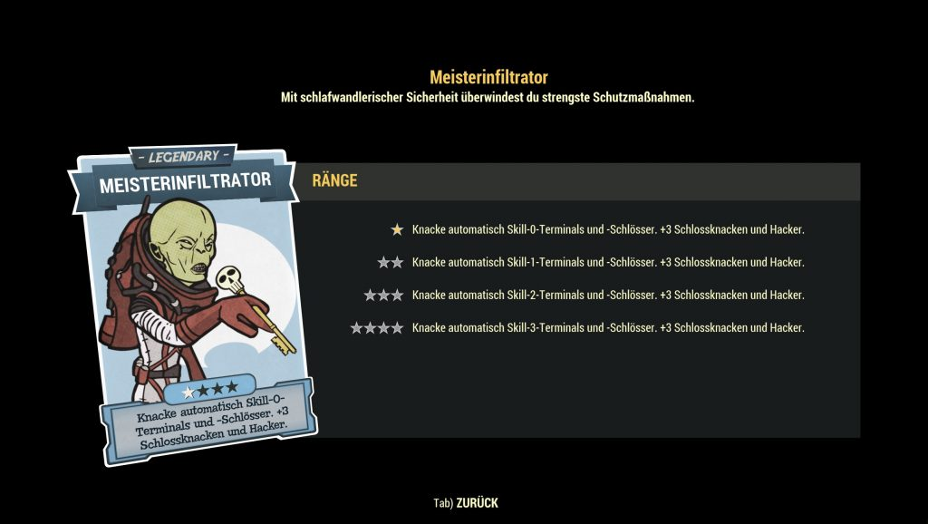 Fallout 76 legendario infiltrado maestro de ventajas