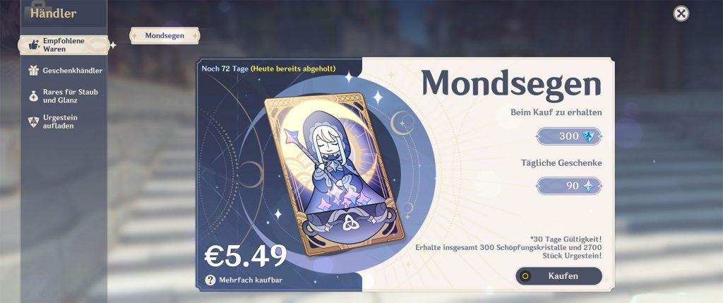 Comprar Genshin Impact Moon Blessing