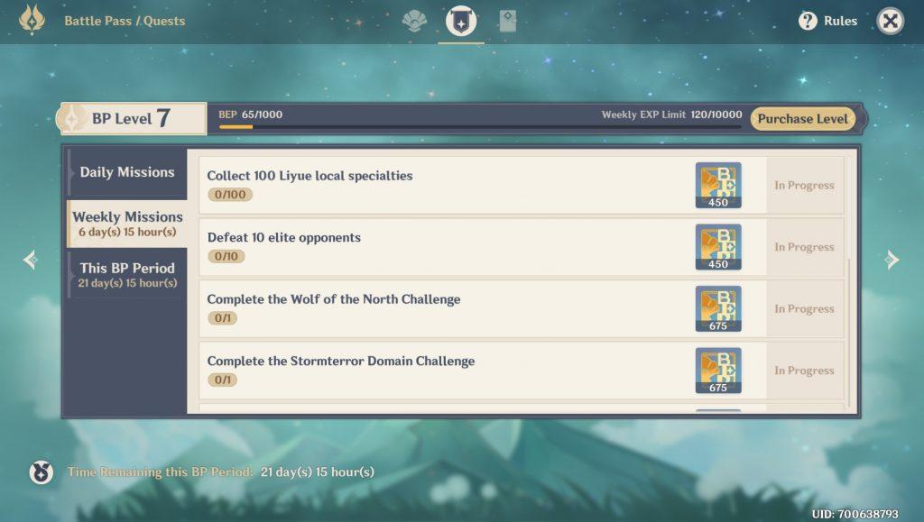 Misiones del pase de batalla de impacto de Genshin