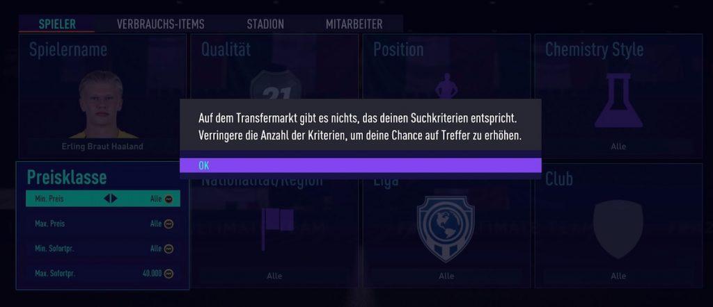 Mensaje de error de FIFA 21