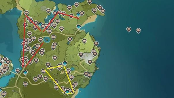 Cajas de rutas de impacto de Genshin
