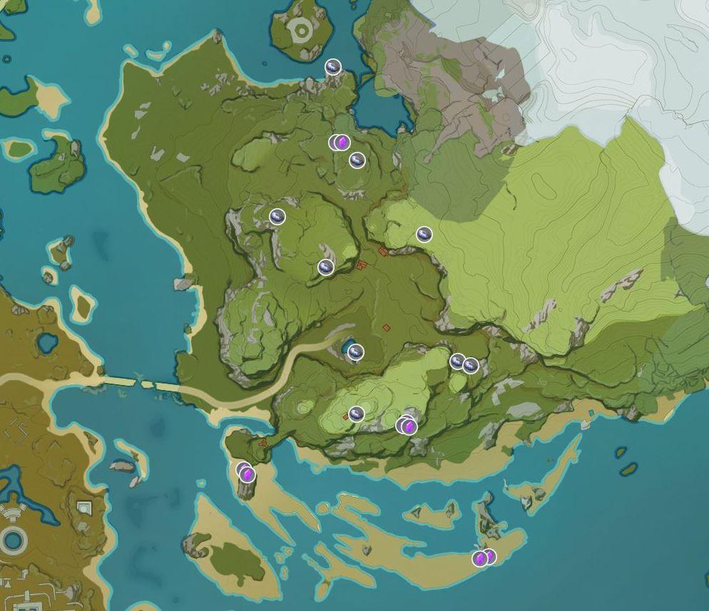 Mapa de Electro Cristales de Jade Nocturno Impacto de Genshin
