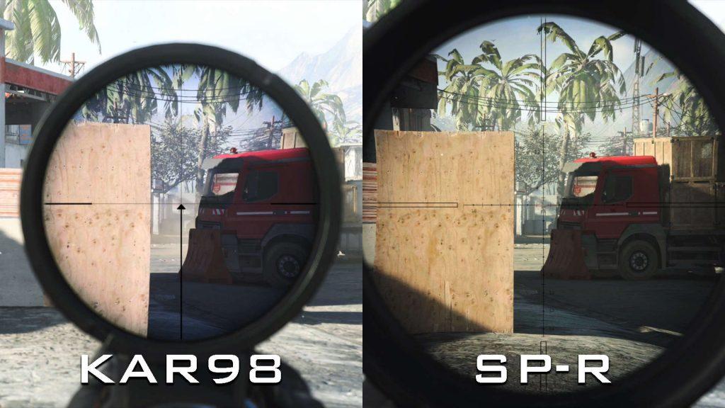 armas de zona de guerra de bacalao sp-r 208 kar 98k comparación de vista