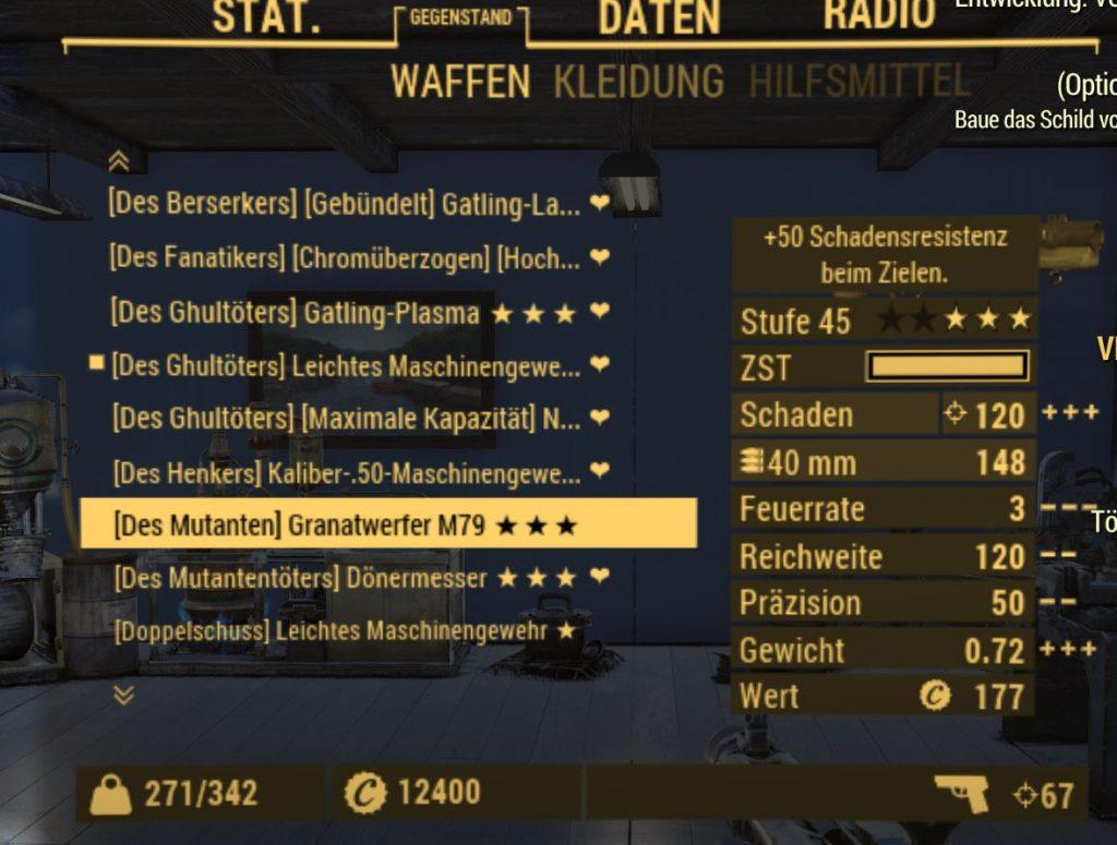 Inventario de armas legendarias de Fallout 76