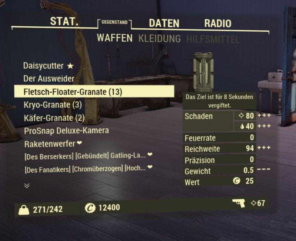 Peso de la granada flotante de Fallout 76