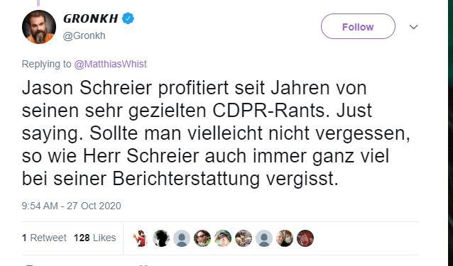 """Tweet-Gronkh """"class ="""" wp-image-610624 """"width ="""" 580 """"height ="""" 340 """"srcset ="""" http://dlprivateserver.com/wp-content/uploads/2020/10/Cyberpunk-2077-el-correo-electronico-interno-sobre-la-cultura-de.jpg 638w , https://images.mein-mmo.de/medien/2020/10/Tweet-Gronkh-300x176.jpg 300w, https://images.mein-mmo.de/medien/2020/10/Tweet-Gronkh- 150x88.jpg 150w """"tamaños ="""" (ancho máximo: 580px) 100vw, 580px """"> El tweet de Gronkh fue posteriormente eliminado.  <p>Como resultado, Gronkh fue criticado por este tweet. Se suponía que tenía relaciones personales con CD Projekt Red. Posteriormente, Gronkh eliminó el tweet. El tweet fue demasiado racheado y subjetivo.</p> <p>Algunos incluso lo acusaron de antisemita. Eso es completamente absurdo.</p> <p>    <img loading="""