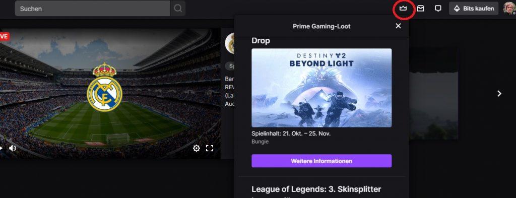 Gorrión de Twitch Prime Destiny 2