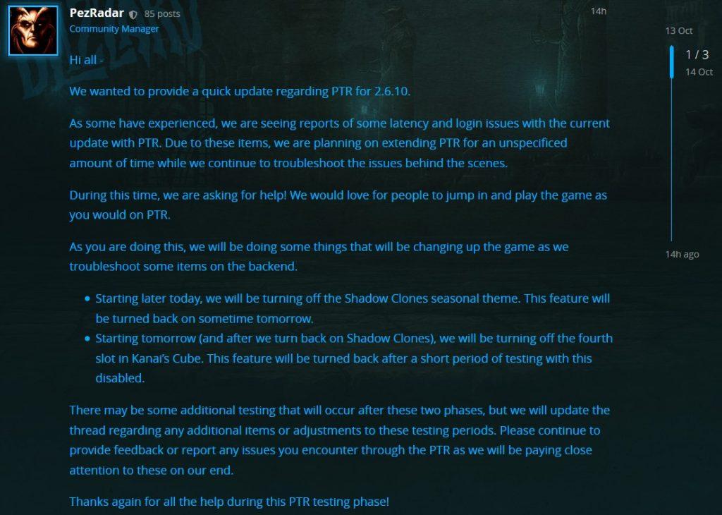 Pruebas de radar de Diablo 3 Pez extendidas