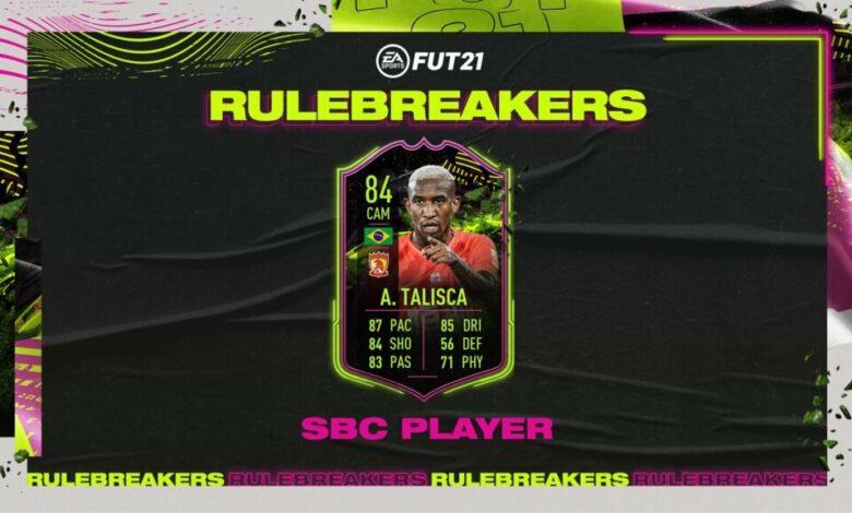 FIFA 21: SBC Anderson Talisca Rulebreakers - Anunciado un nuevo desafío de creación de plantilla