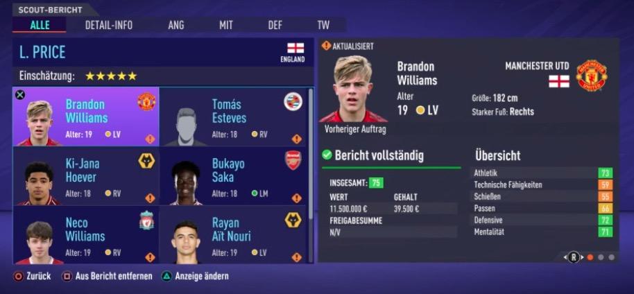 RV LV Talents FIFA 21