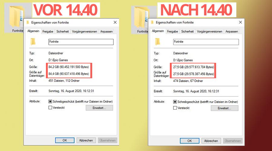 """Fortnite-size-patch-14-40-before-after """"class ="""" wp-image-582656 """"srcset ="""" https://images.mein-mmo.de/medien/2020/10/Fortnite-Size-Patch- 14-40-before-after.jpg 900w, https://images.mein-mmo.de/medien/2020/10/Fortnite-Size-Patch-14-40-vorher-nachher-300x167.jpg 300w, https: //images.mein-mmo.de/medien/2020/10/Fortnite-Gr Größe-Patch-14-40-vorher-nachher-150x83.jpg 150w, https://images.mein-mmo.de/medien/2020 /10/Fortnite-Gröhe-Patch-14-40-vorher-nachher-768x427.jpg 768w """"tamaños ="""" (ancho máximo: 900px) 100vw, 900px """"> Aquí puede ver cómo ha cambiado el espacio de almacenamiento después de la actualización     <h2>Los jugadores están felices y le temen</h2> <p><strong>¿Cómo va la reducción del espacio de almacenamiento con los jugadores?</strong> El hecho de que Fortnite consuma mucho menos espacio de almacenamiento solo tiene un efecto positivo para los jugadores de PC, porque ahora generalmente ahorran más espacio. Luego puede usar esto para otros juegos o actualizaciones.</p> <p>Así que este cambio parece ir bien con los jugadores. Debajo de las publicaciones de Twitter de Fortnite Status y Lucas7yoshi comentan que están felices. Un jugador incluso agradece a Fortnite por salvar su PC:</p> <p>Contenido editorial recomendado En este punto, encontrará contenido externo de Twitter que complementa el artículo Mostrar contenido de Twitter Doy mi consentimiento para que se me muestre contenido externo. Los datos personales se pueden transmitir a plataformas de terceros. Lea más sobre nuestra política de privacidad.</p> <p> Enlace al contenido de Twitter .embed-twitter .embed-privacy-logo {background-image: url (https://mein-mmo.de/wp-content/plugins/embed-privacy/assets/images/embed-twitter.png) ? v = 1598861582); } </p> <p>Pero no todo es alegría por este cambio, ya que algunos jugadores se preguntan cómo Epic logró reducir tanto el tamaño del juego. Surge un temor: ¿Se ha eliminado de los datos el mapa antiguo del Capítulo 1?</p> <p>¿Entonces borraste el mapa (Athen"""