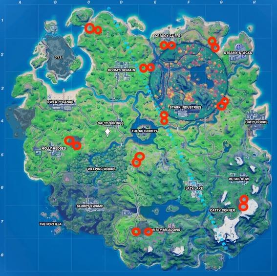 """fortnite-rifts-risse-map """"class ="""" wp-image-580180 """"srcset ="""" http://dlprivateserver.com/wp-content/uploads/2020/10/Fortnite-todas-las-grietas-en-el-mapa-de-la-temporada.jpeg 567w, https : //images.mein-mmo.de/medien/2020/10/fortnite-rifts-risse-map-300x298.jpeg 300w, https://images.mein-mmo.de/medien/2020/10/fortnite- rifts-risse-map-150x150.jpeg 150w, https://images.mein-mmo.de/medien/2020/10/fortnite-rifts-risse-map-231x231.jpeg 231w """"tamaños ="""" (ancho máximo: 567px) 100vw, 567px """"> Hay una grieta en cada uno de los círculos rojos     <p>Hay 10 ubicaciones con 2 grietas cada una. Esos son ellos:</p> <ul> <li>En la cima de una colina, al noroeste de Steamy Stacks</li> <li>Por un puente, al noroeste de Dirty Docks</li> <li>En un prado cerca de Risky Reels y al noreste de The Authority</li> <li>Por un puente al oeste del Dominio de Doom</li> <li>En una pequeña zona residencial entre el faro de Loki y Doom's Domain</li> <li>Cerca de una antigua base de sombras al oeste de Weeping Woods</li> <li>Noreste de Holly Hedges</li> <li>En el Monumento a la Pantera Negra, al oeste de Misty Meadows</li> <li>En la colina nevada, al noreste de Catty Corner</li> </ul> <h2>Conducir un vehículo a través de una grieta</h2> <p><strong>Tienes que hacer eso:</strong> Los cracks no solo son útiles para moverse, sino que esta semana se convierten en parte de los desafíos. Entonces, para completar esta tarea, deberá tomar un automóvil y conducir a través de una grieta. Casi todos los vehículos en el mapa se pueden conducir desde la actualización 13:40.</p> <p>En algunos lugares, la tarea no debería ser un problema, porque las grietas están en el suelo. Sin embargo, algunos flotan un poco más alto en el aire.</p> <p>    <img loading="""