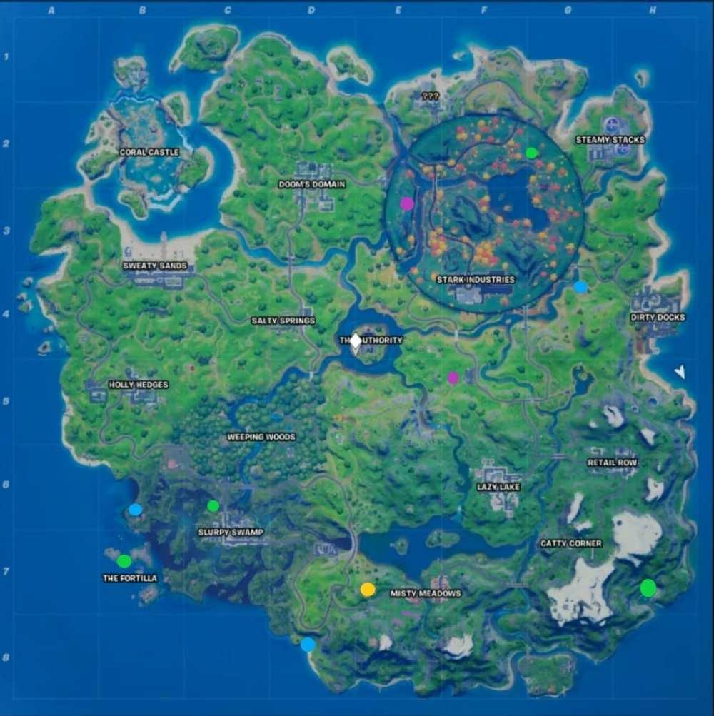 mapa de monedas xp de la semana 8 de fortnite